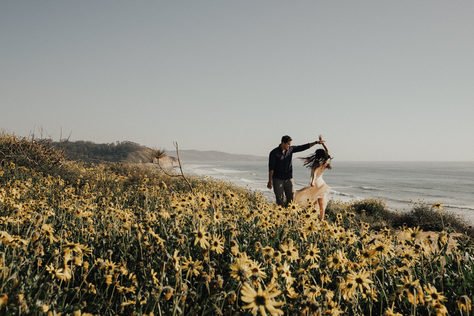 torrey pines engagement session dance with the flowers