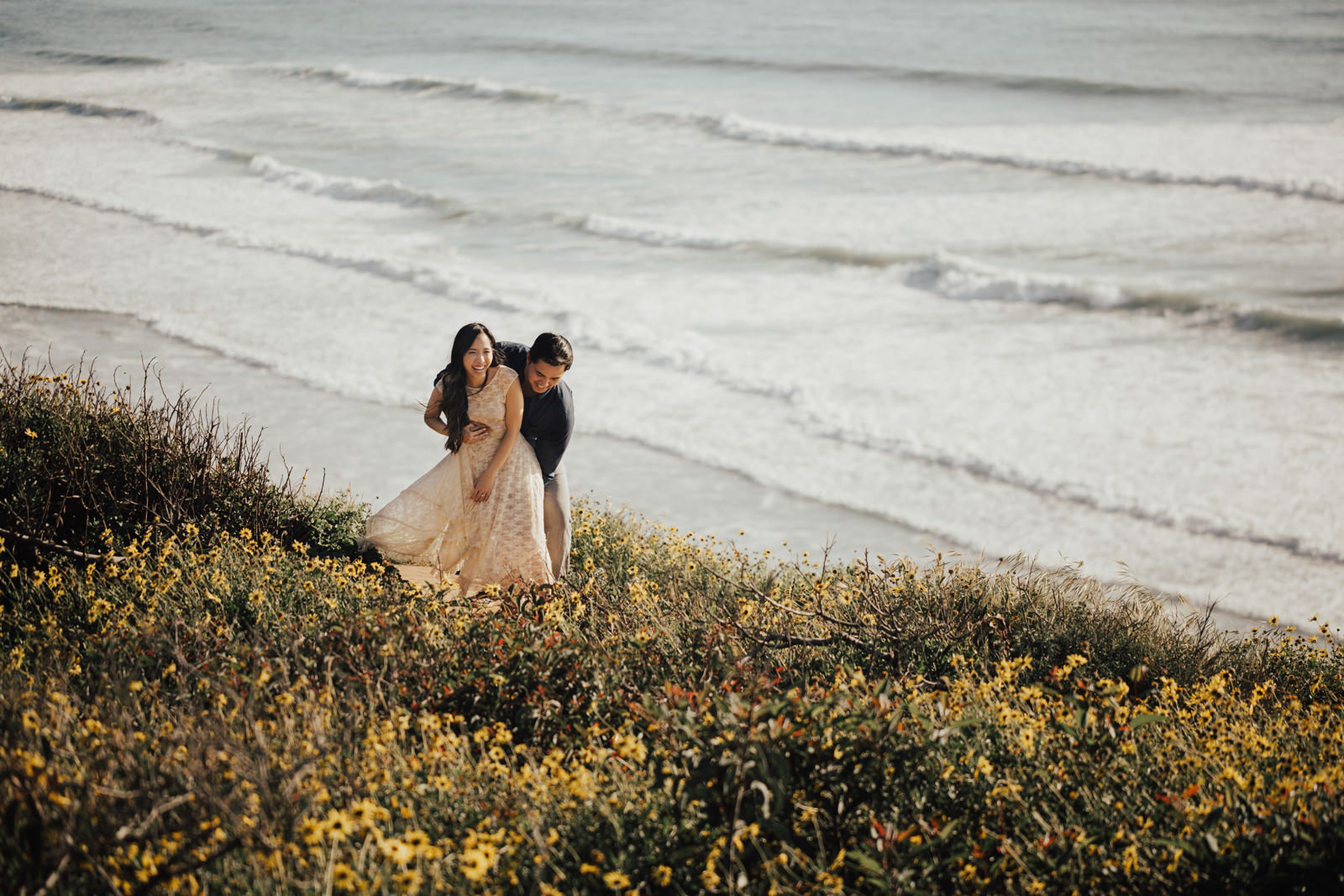torrey pines engagement session playing in the sun