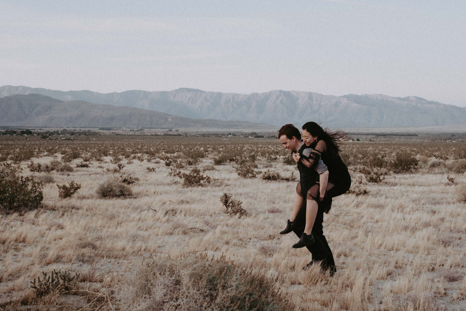 anza borrego at sunset couples engagement session