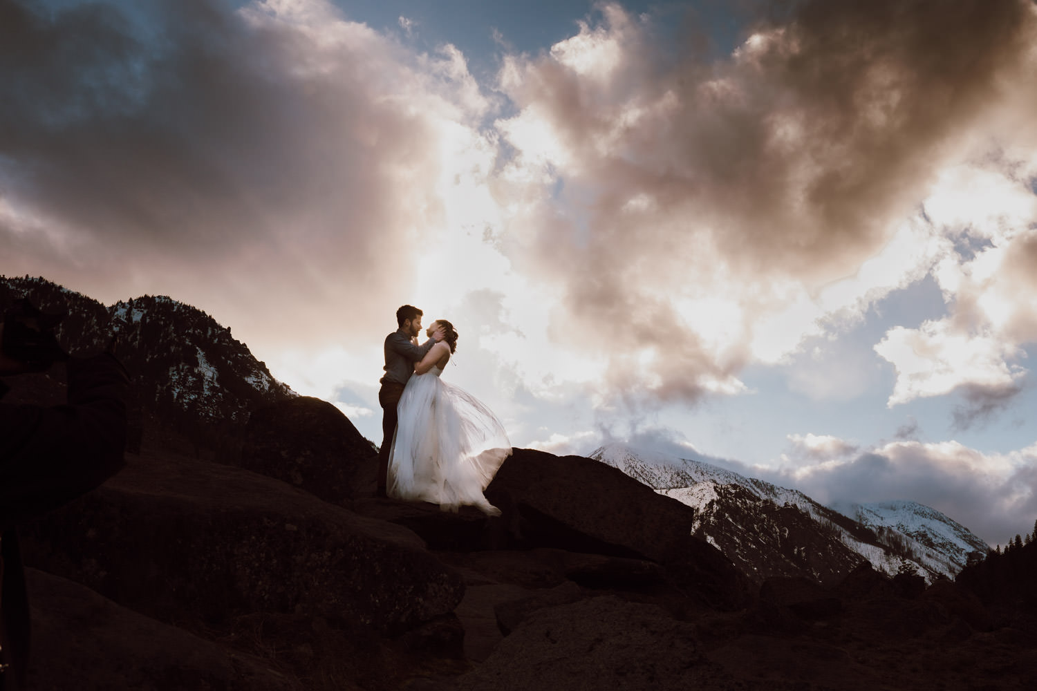 bride and groom sunset portrait 6