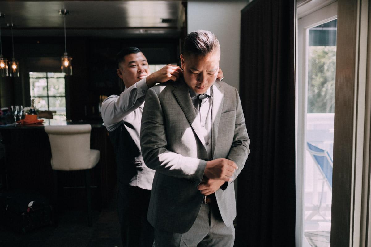 grooms getting ready at hemingway home wedding key west florida 1