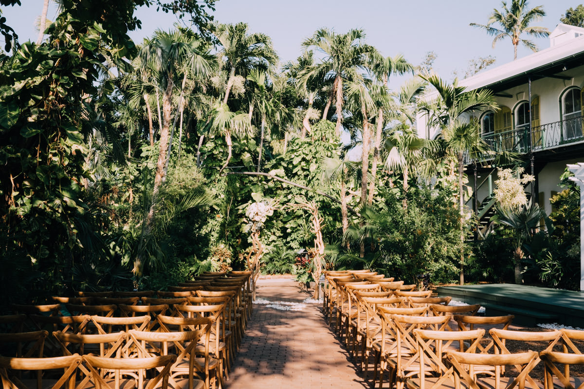 ceremony at hemingway home wedding key west florida