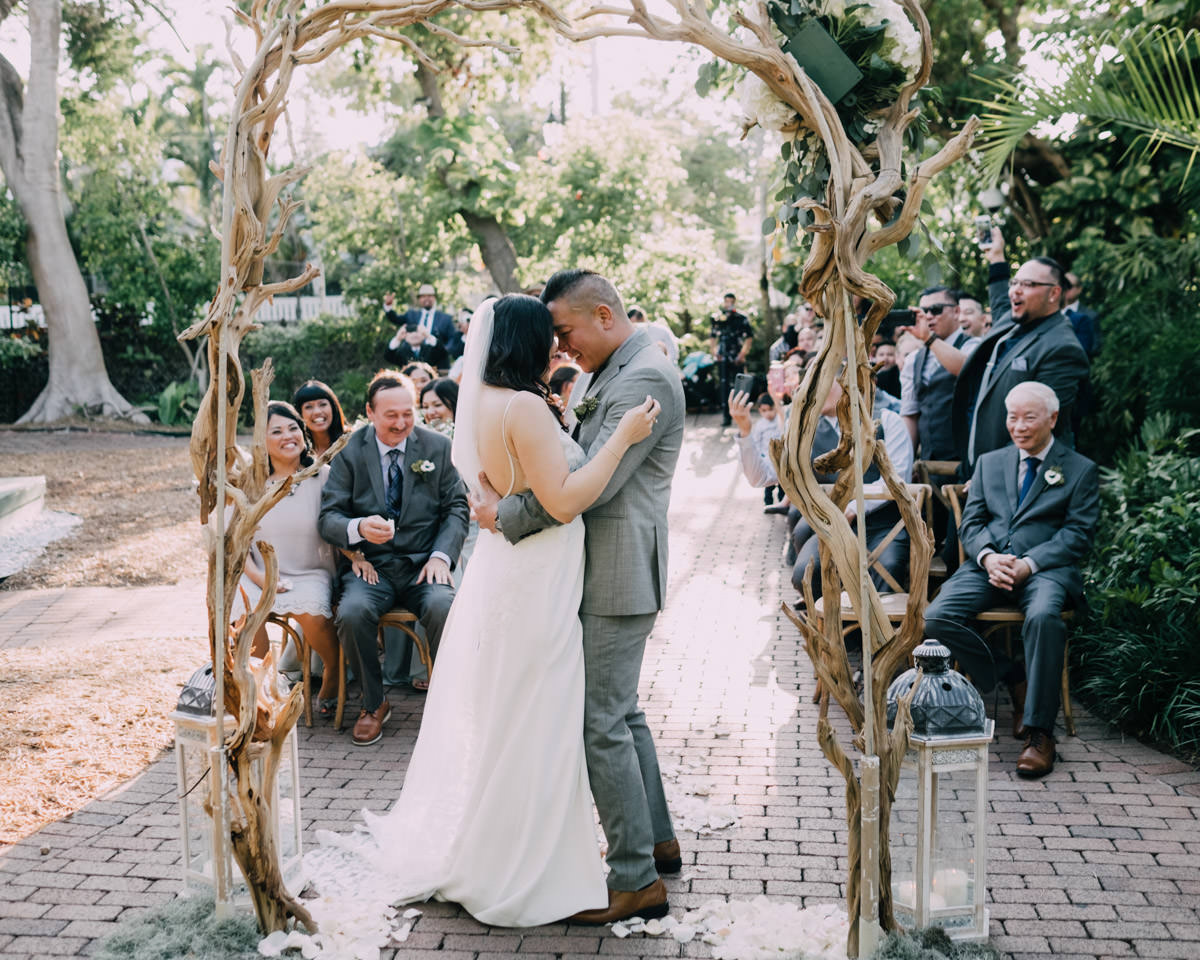 intimate wedding ceremony at hemingway home key west florida