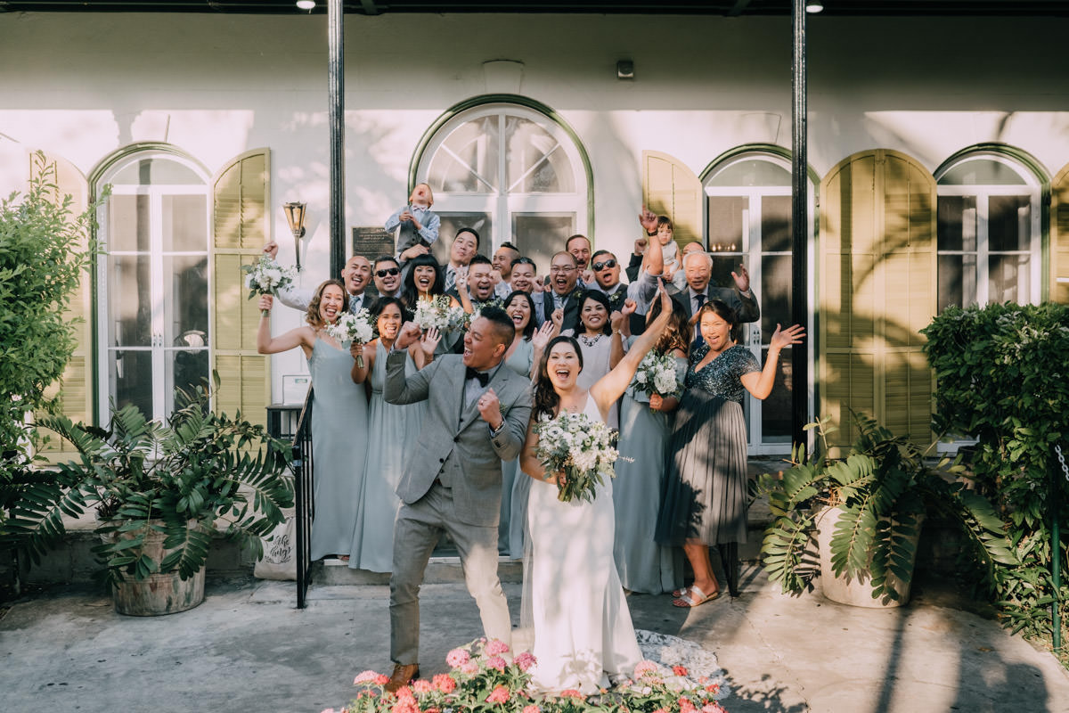 bridal party wedding ceremony at hemingway home key west florida