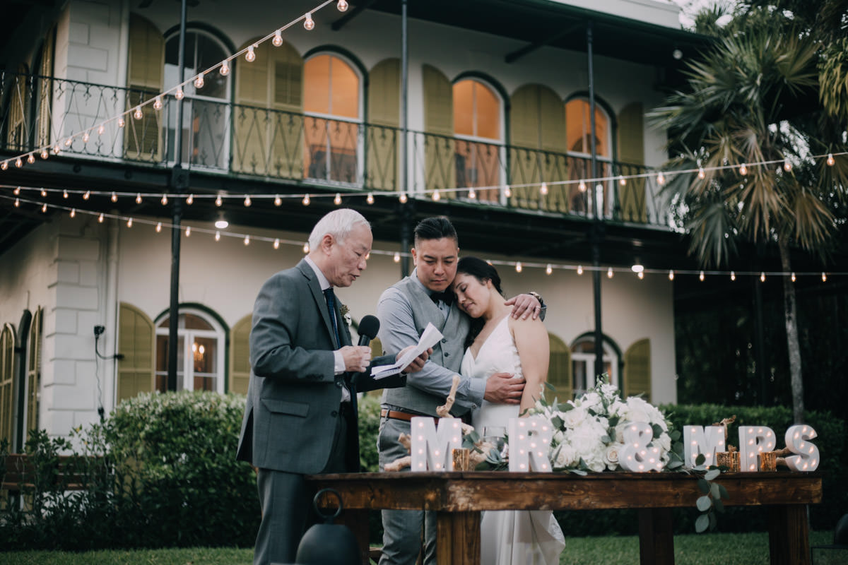 blessing for couple at hemingway home wedding key west florida