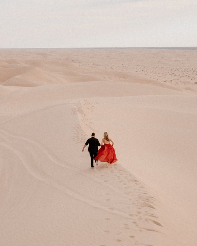 glamis sand dunes engagement session running away