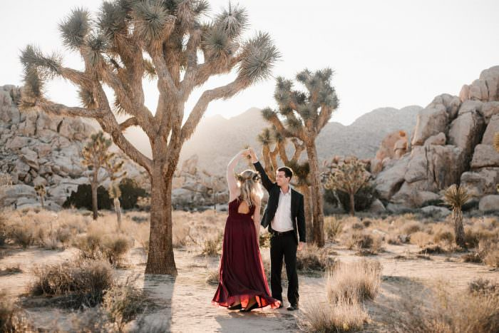 joshua tree + palm springs engagement a swing in the sun