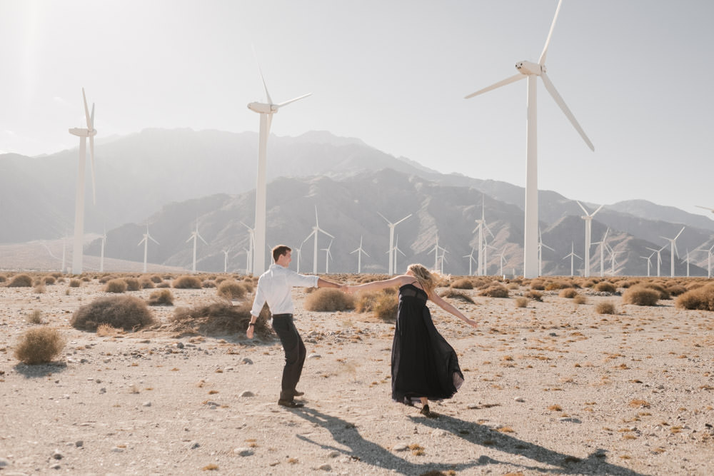 joshua tree + palm springs engagement playing in the sun