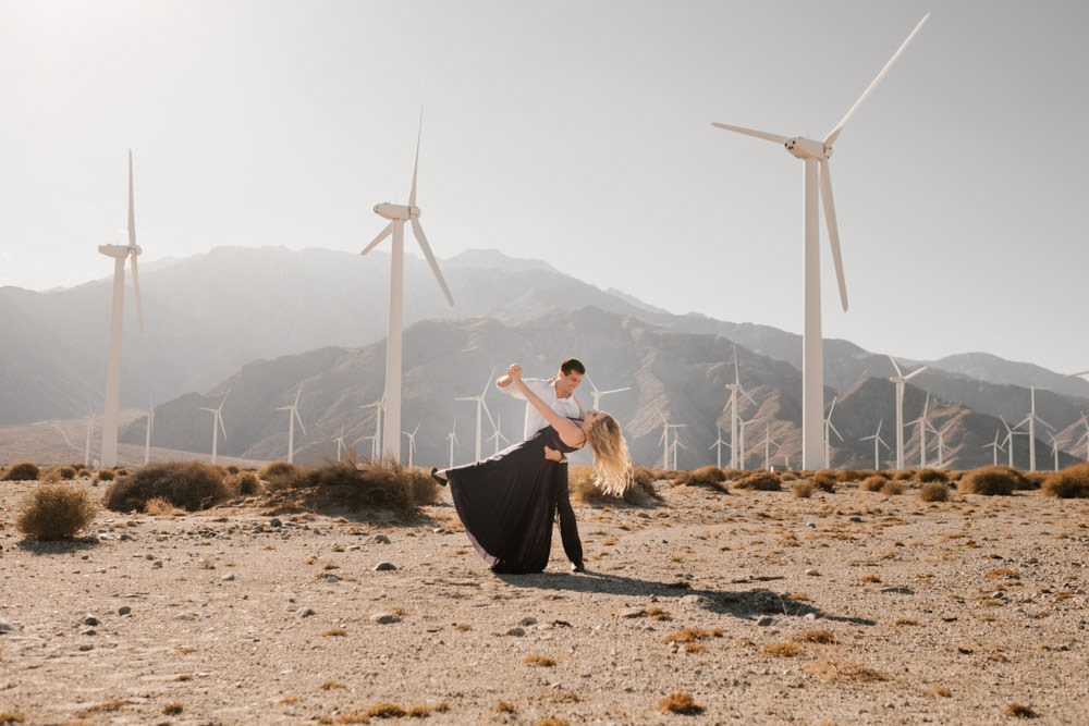 joshua tree + palm springs engagement dancing in the sun