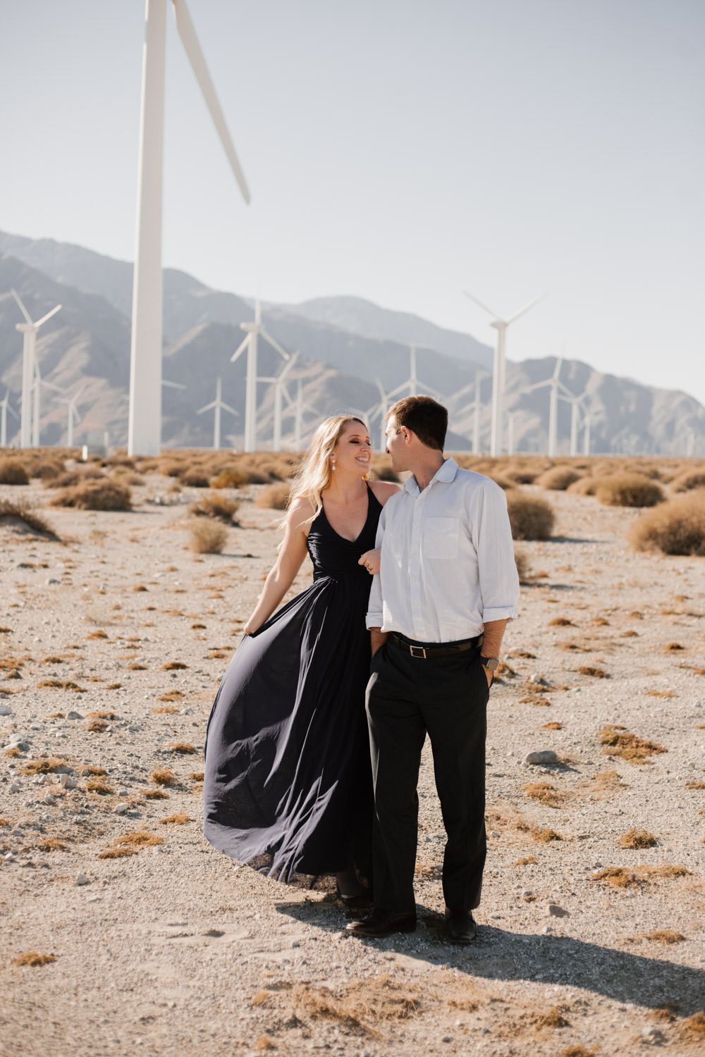 joshua tree + palm springs engagement sweet moment