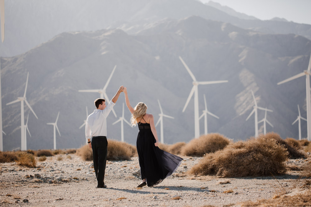 joshua tree + palm springs engagement twirl