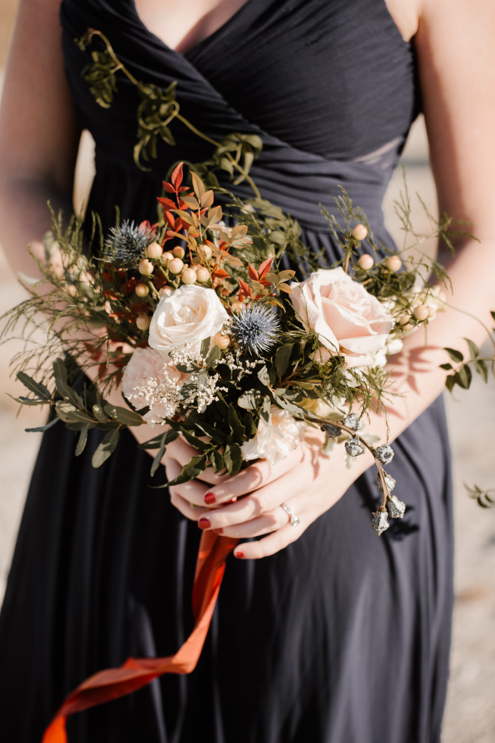 joshua tree + palm springs engagement beautiful bouquet