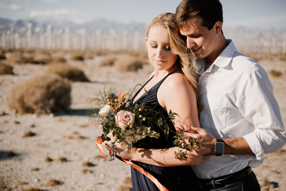 joshua tree + palm springs engagement intimate moment