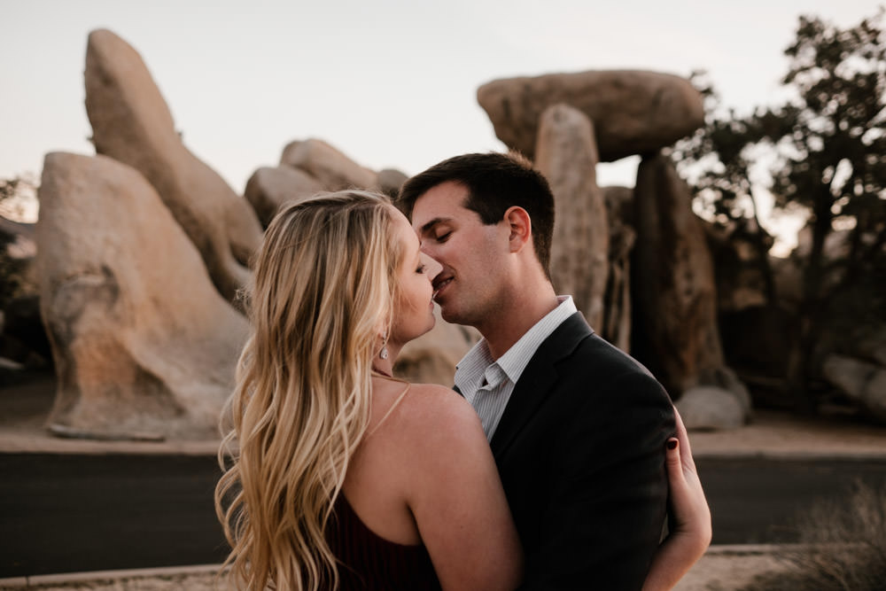 joshua tree + palm springs engagement sweet kiss