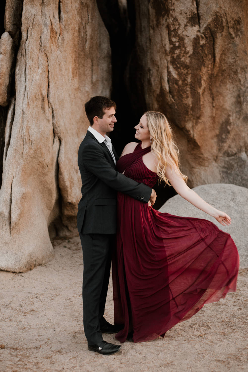 joshua tree + palm springs engagement flip the dress