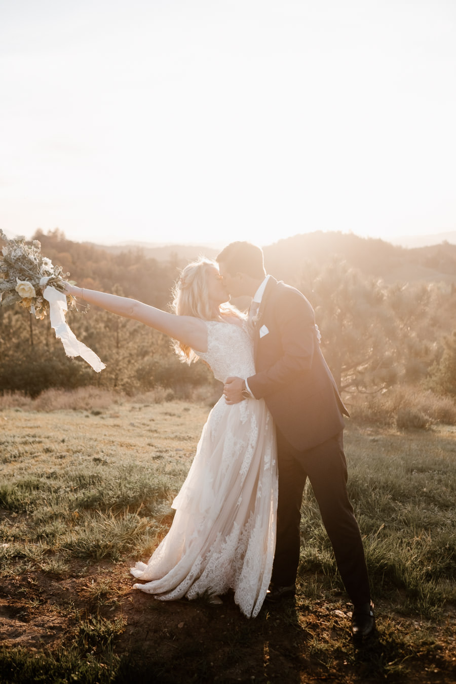 bride and groom sunset portrait 10