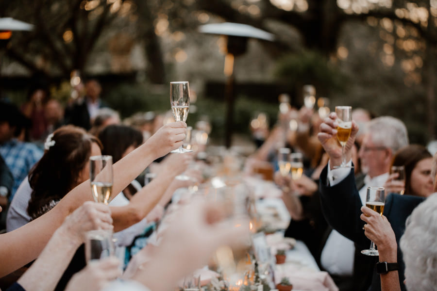 reception toasts for the bride and groom