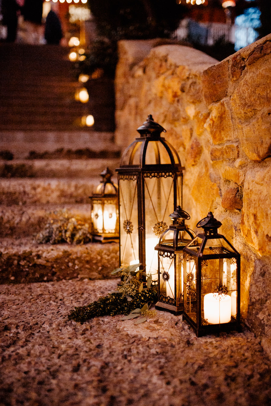 beautiful lanterns on the stairs