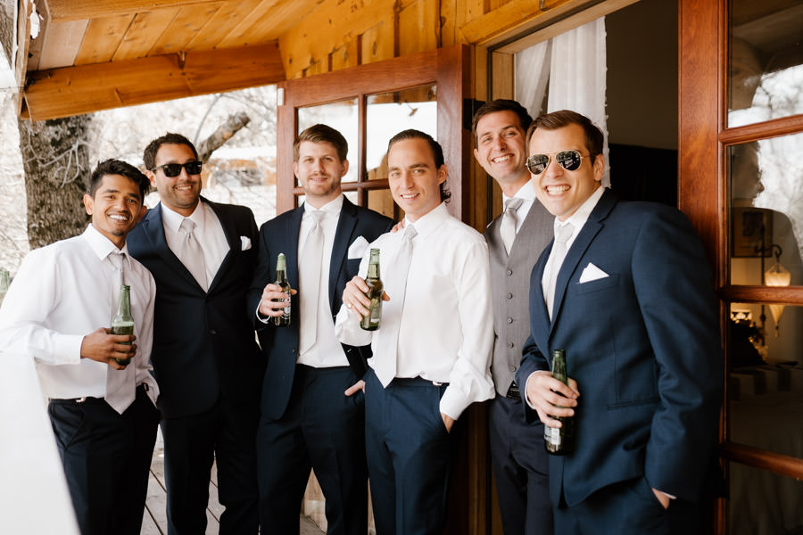 sacred mountain julian wedding guys all dressed up and having drinks