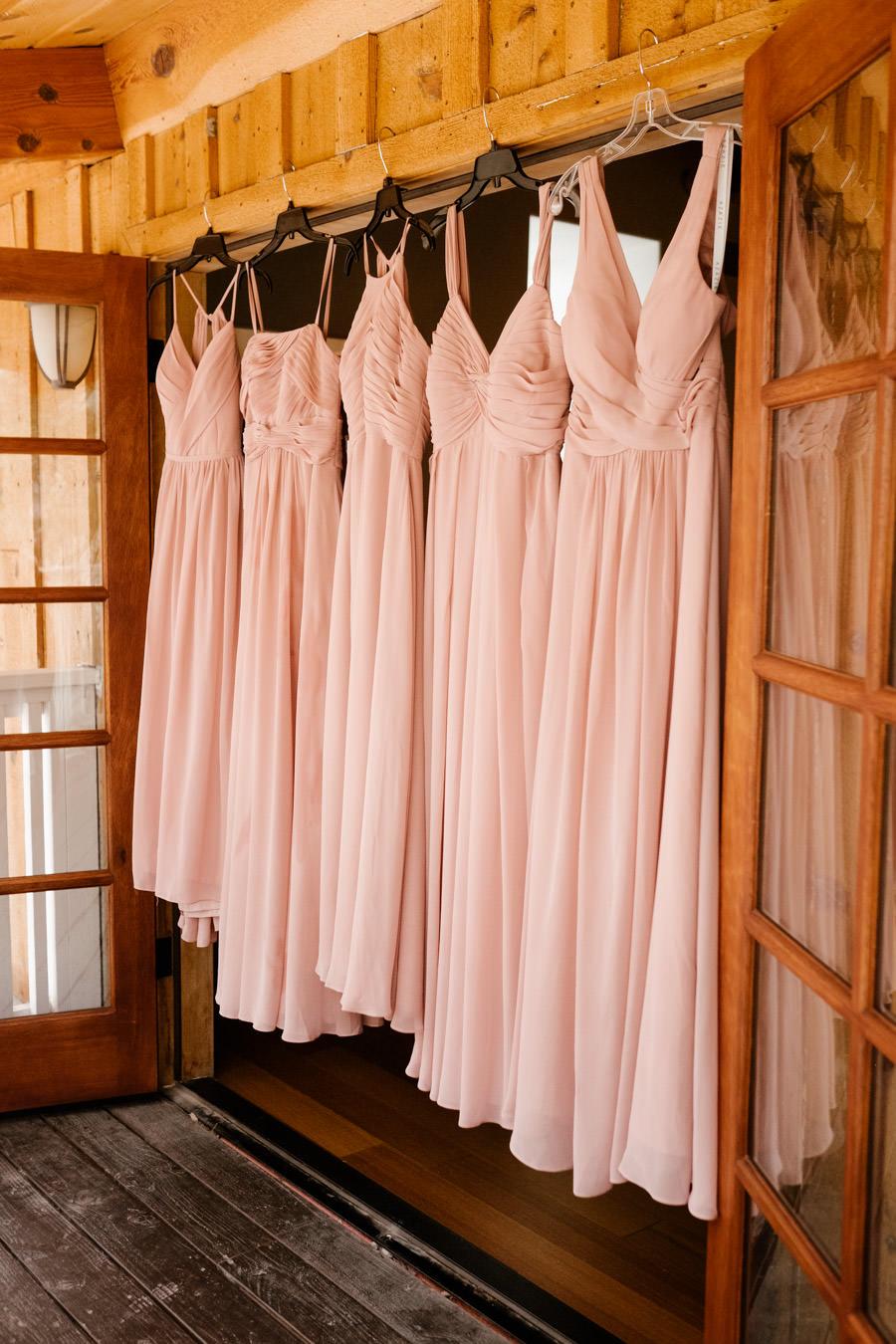 sacred mountain julian wedding hanging bridesmaid dresses