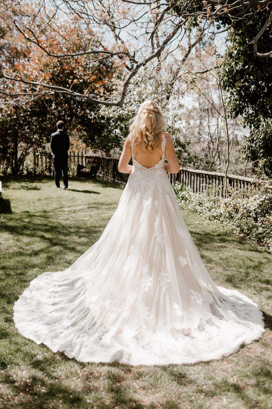 sacred mountain julian wedding first look moment in the secret garden