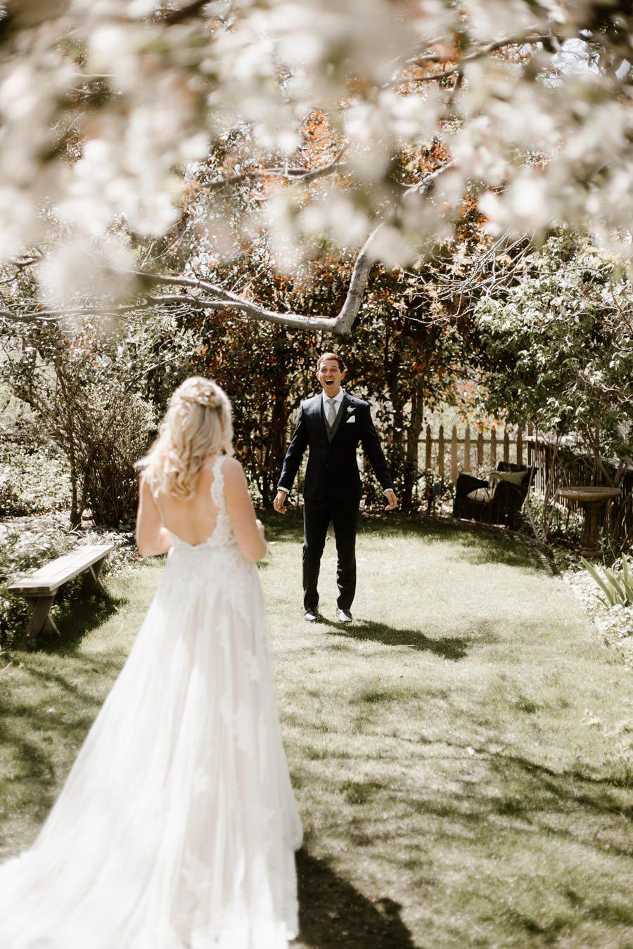 sacred mountain julian wedding first look moment first reaction