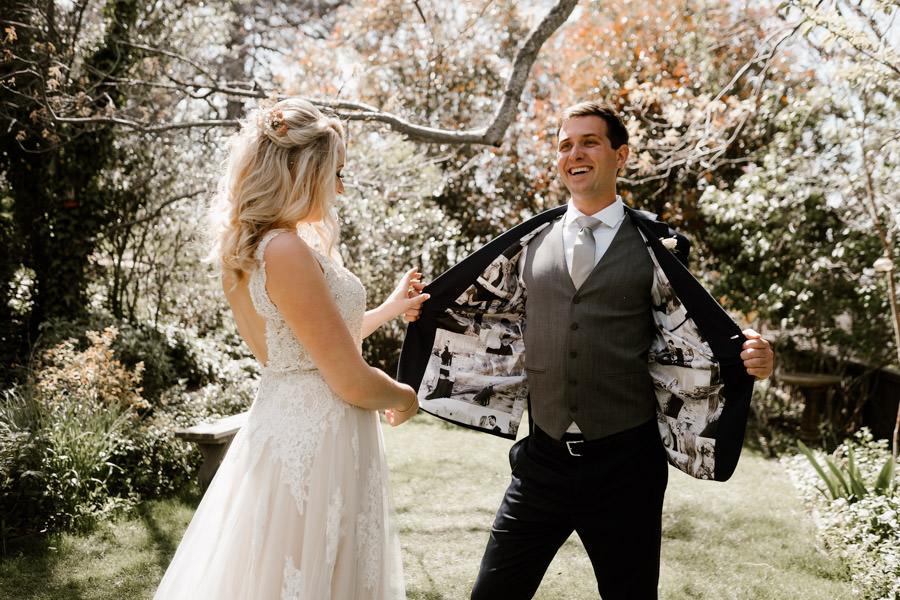 sacred mountain julian wedding groom sharing his unique jacket details