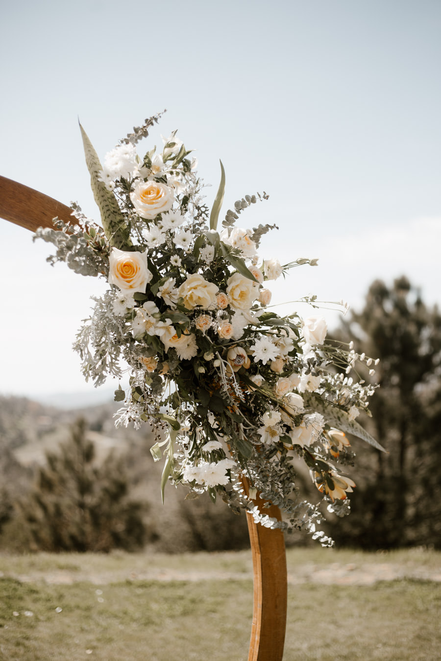 sacred mountain julian wedding floral details for ceremony