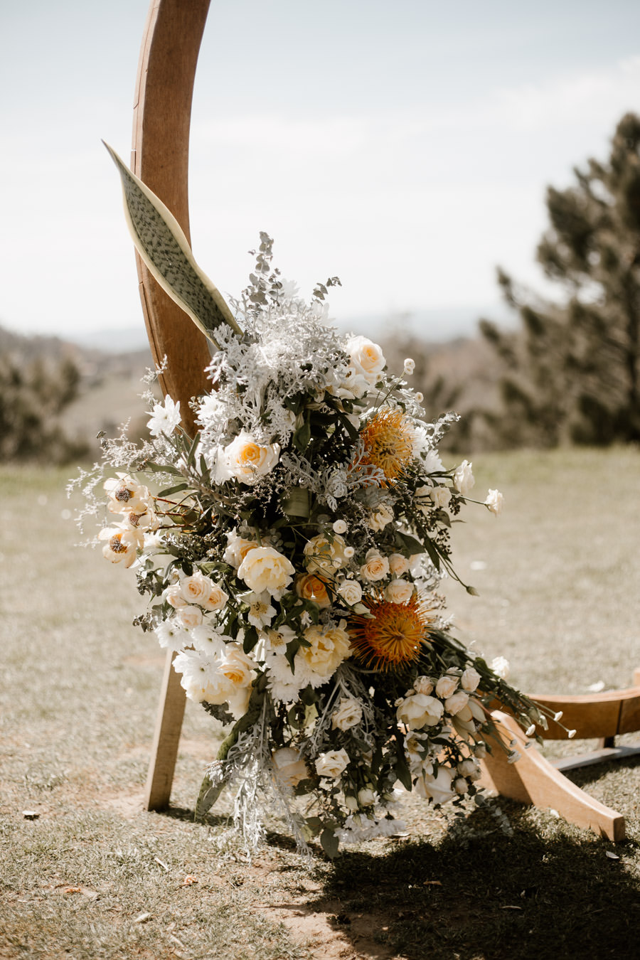 floral details for ceremony arch