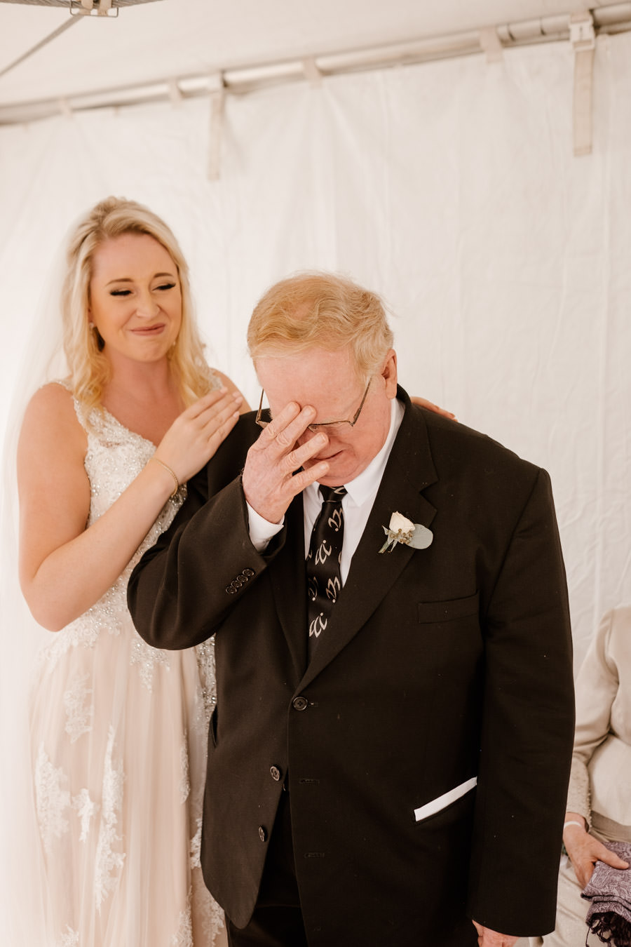 grandpa crying because bride is so beautiful