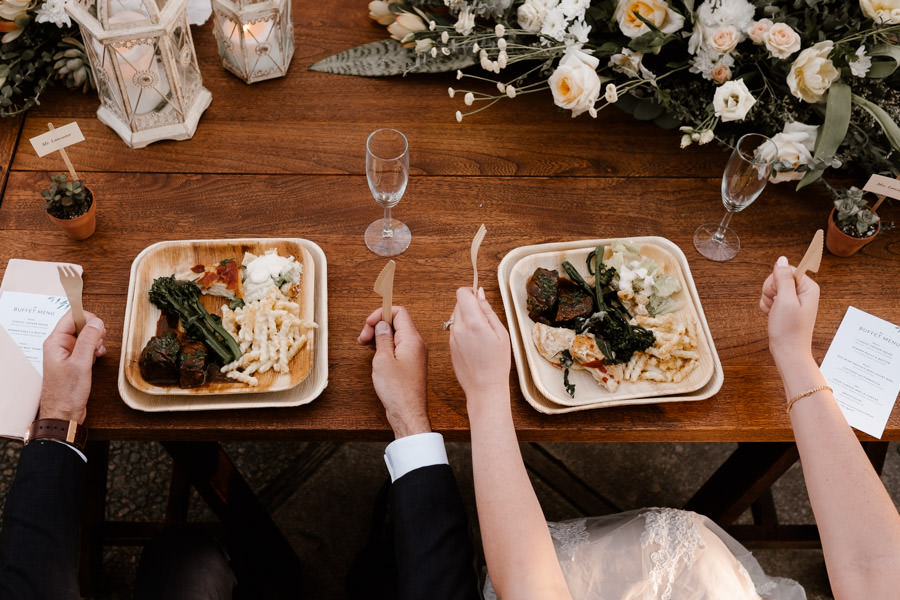 bride and groom first meal as husband and wife