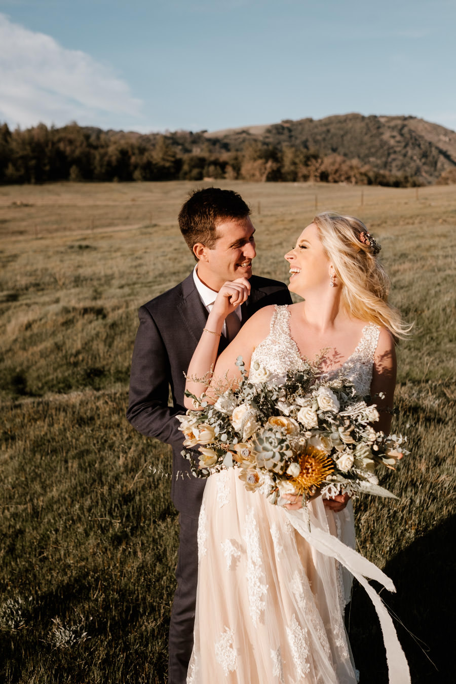 bride and groom sunset portrait 1