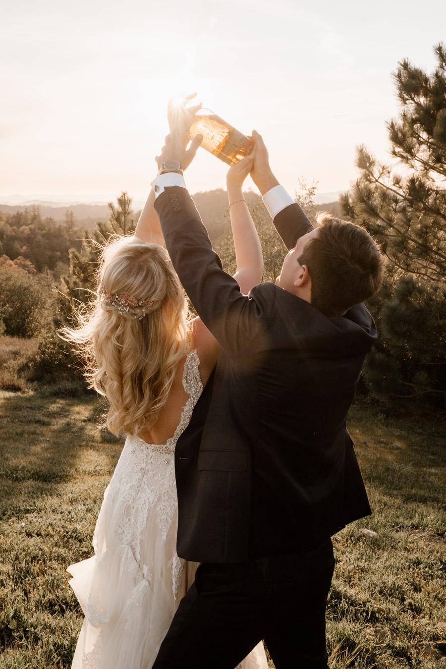 bride and groom sunset portrait 4