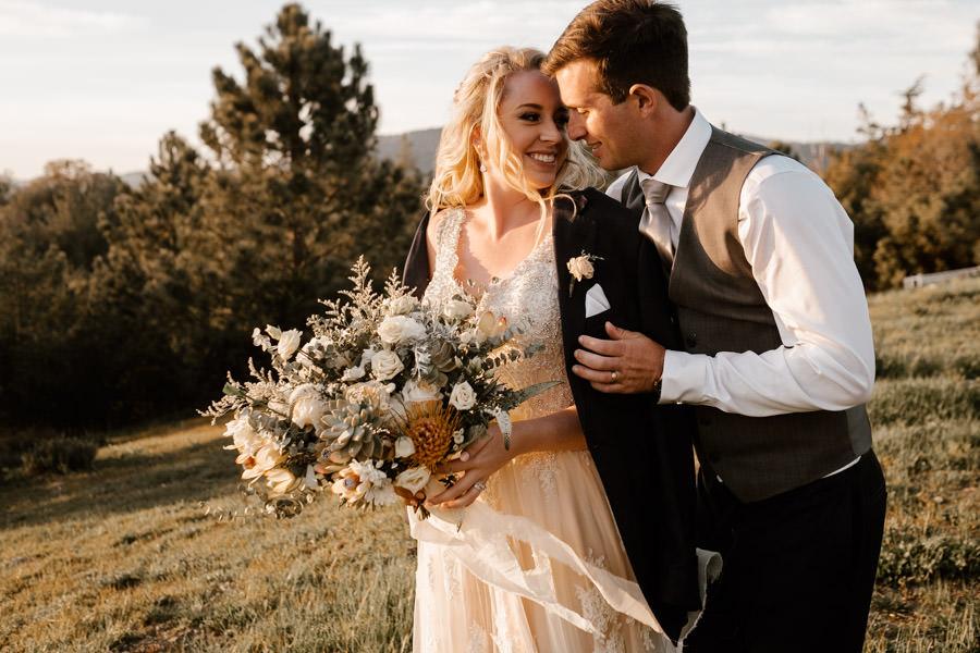bride and groom sunset portrait 5