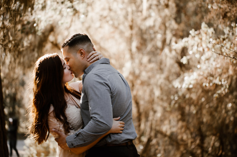 big sur engagement session intimate moment under the trees
