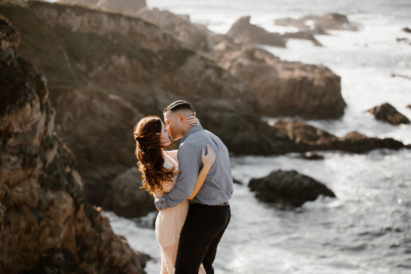 big sur engagement session hair on fire
