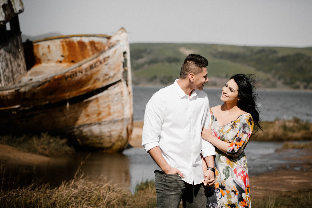 point reyes engagement photos wreck ship and couple