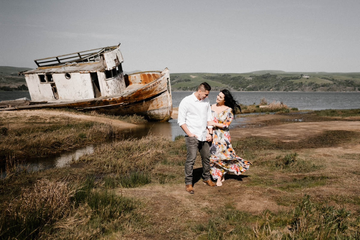 point reyes engagement photos wreck ship and couple 2
