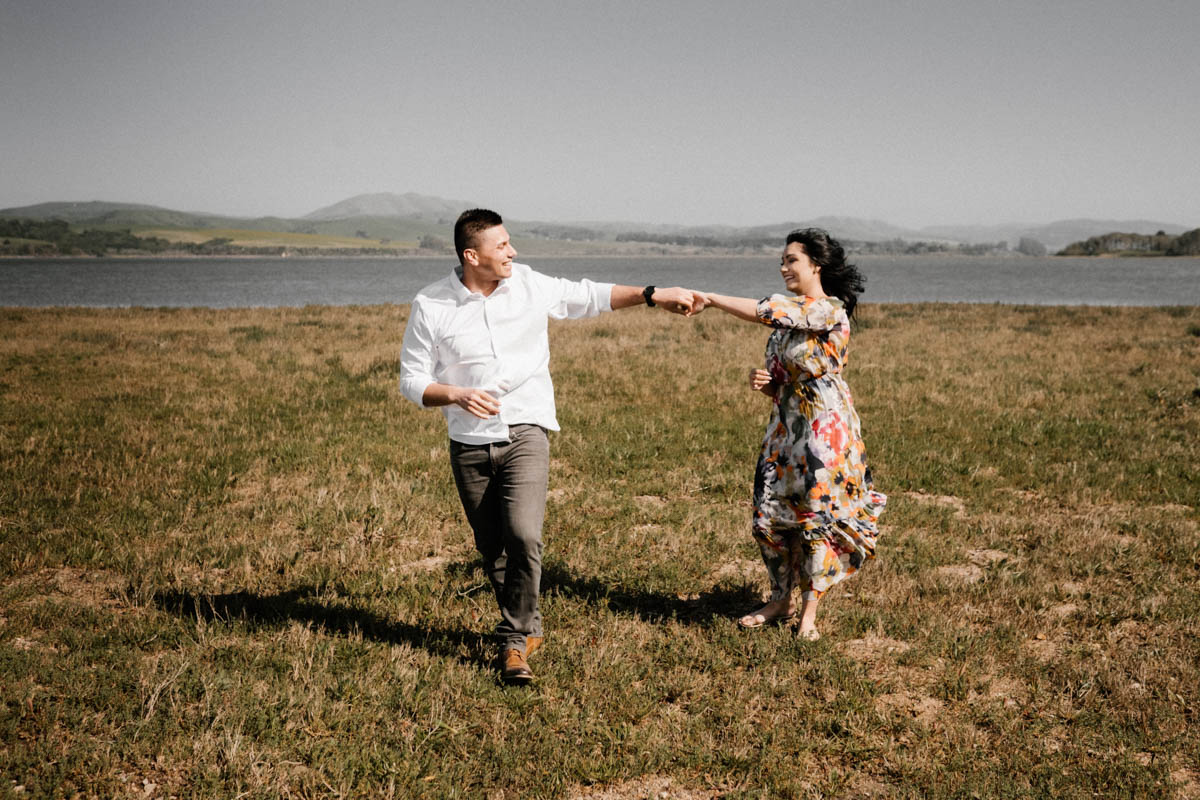 point reyes engagement photos playing by the lake 2