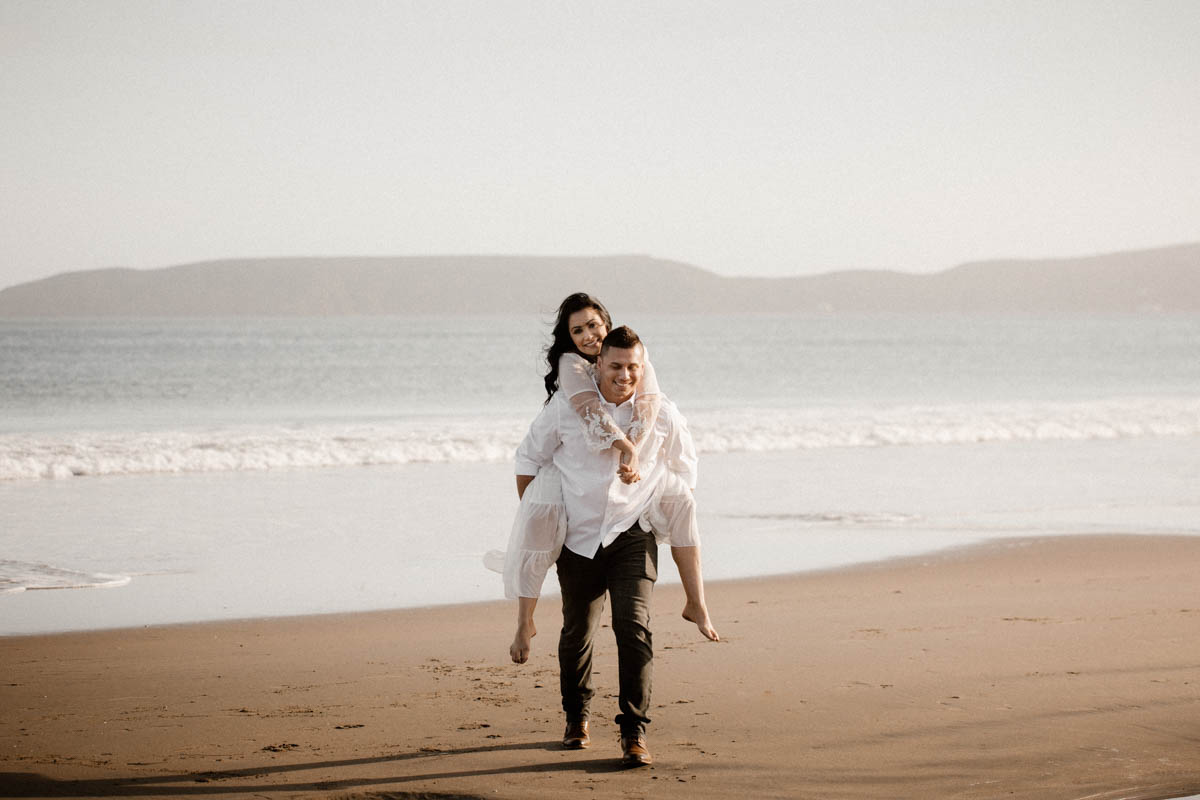 point reyes engagement shoot piggy bag ride