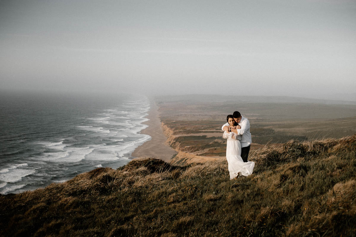 point reyes engagement shoot stunning landscape and beautiful couple