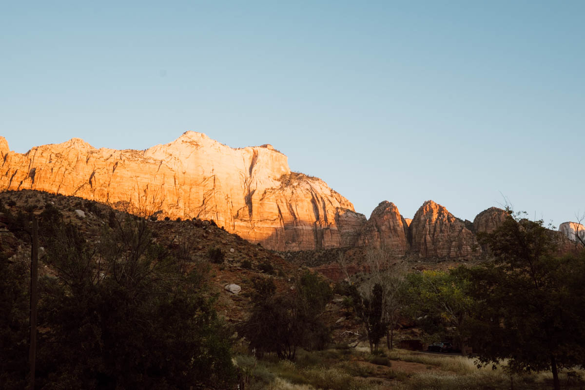 zion national park wedding morning sunrise