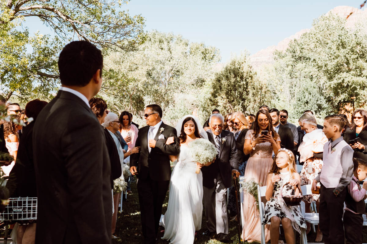 zion national park wedding bride walking down the aisle