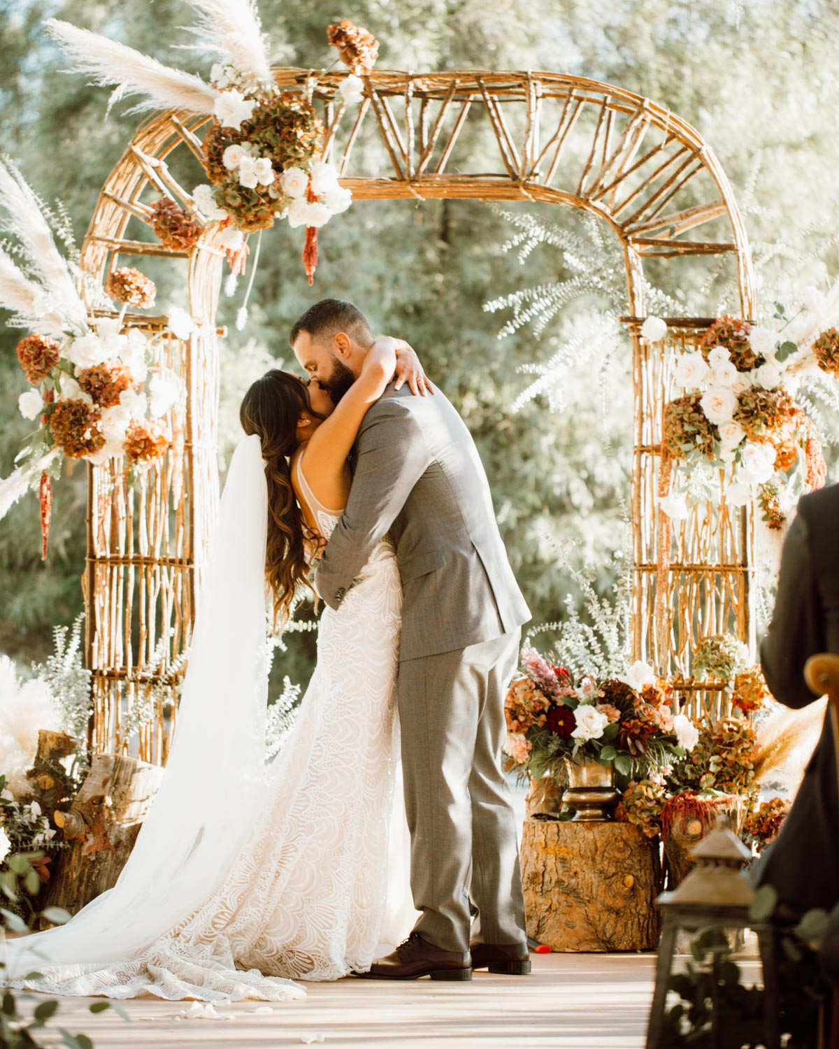 ethereal gardens wedding first kiss as husband and wife