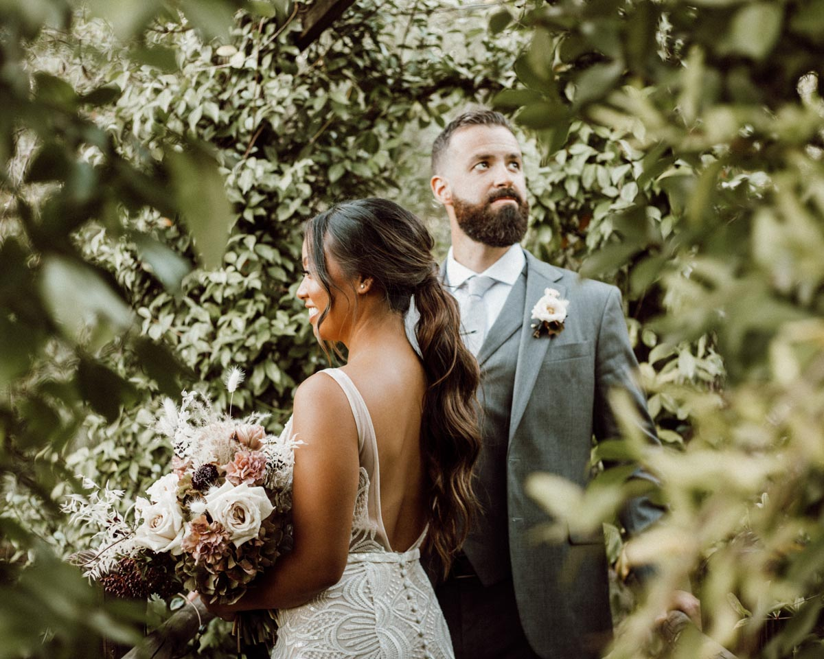 ethereal gardens wedding couple portrait