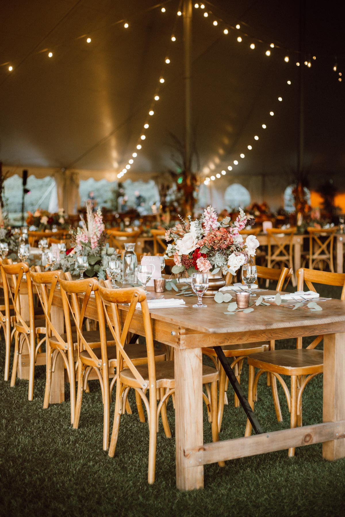ethereal gardens wedding reception setup