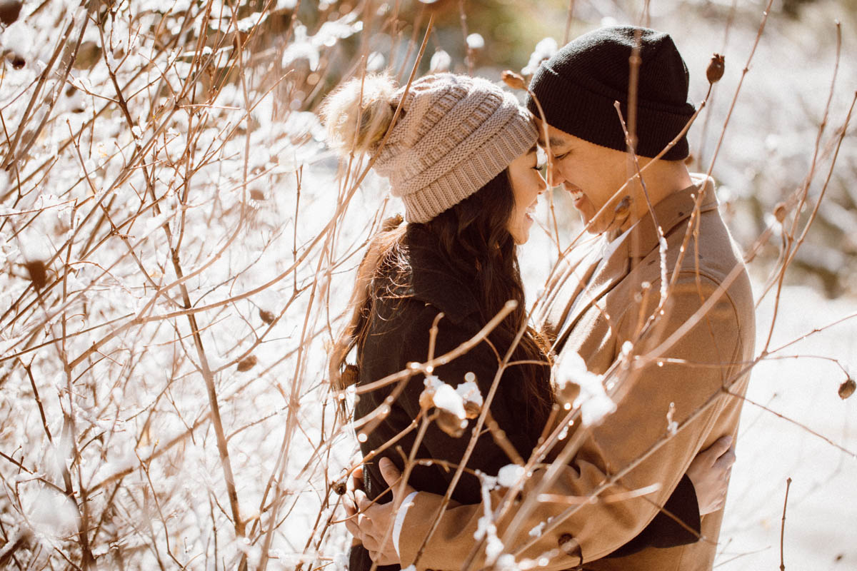 sequoia national park engagement session sunshine and snow branches