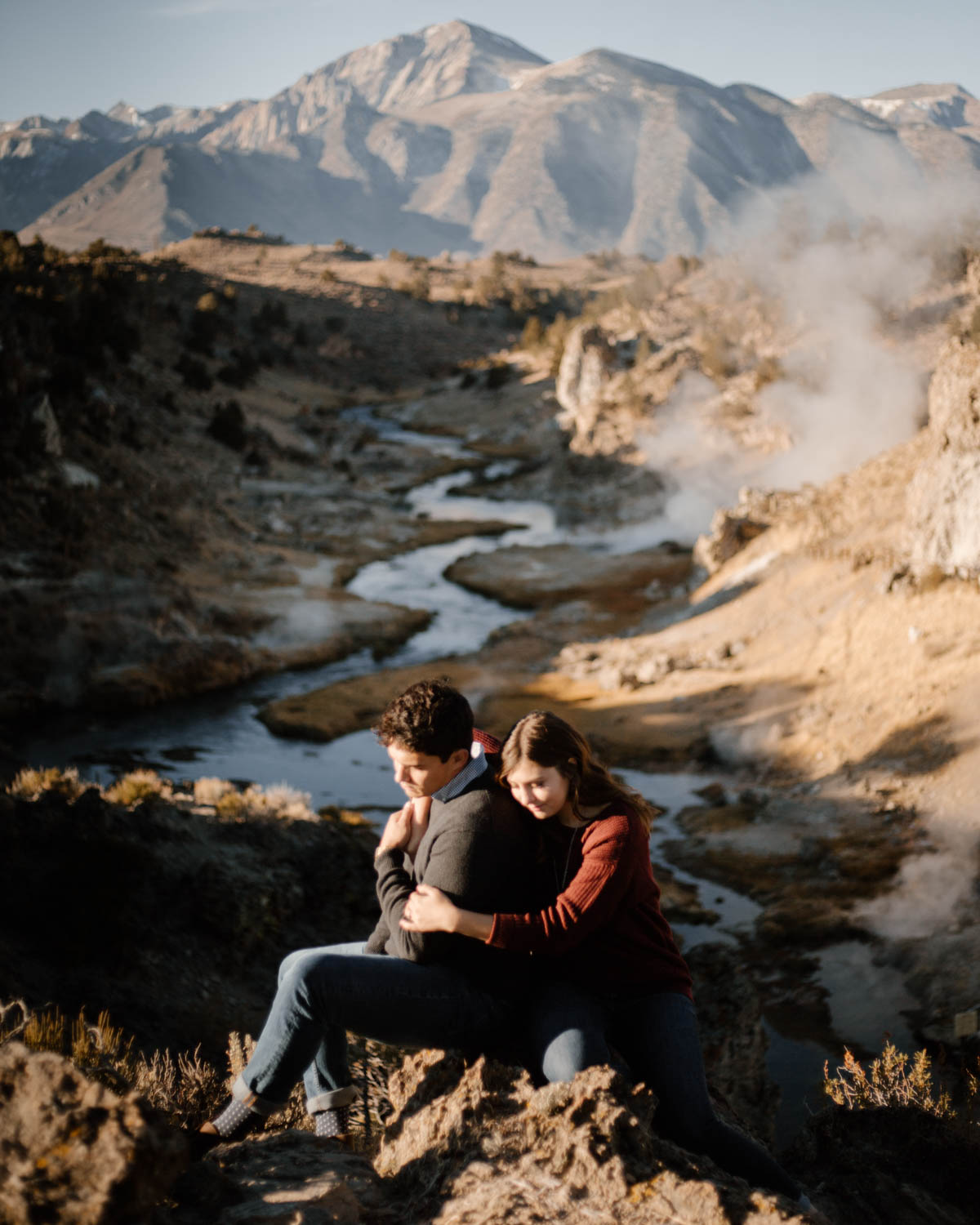 mammoth lakes engagement session morning by the hot springs