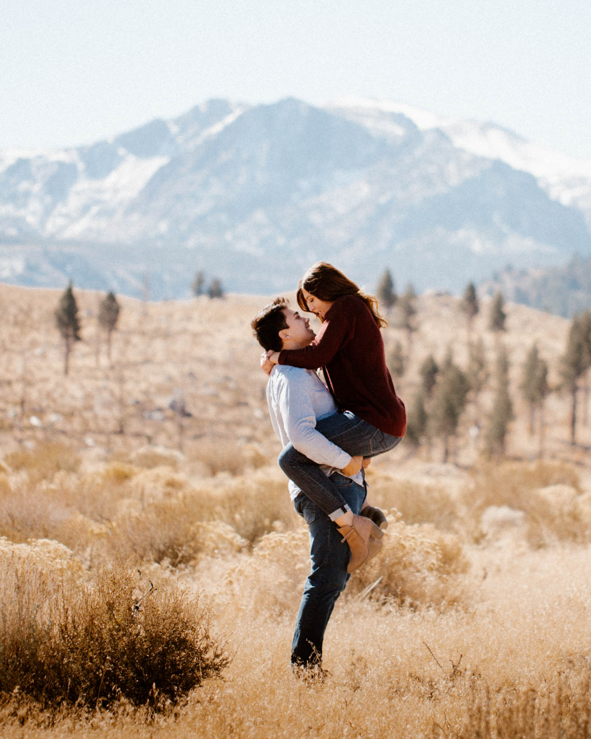 mammoth lakes engagement session cute moment