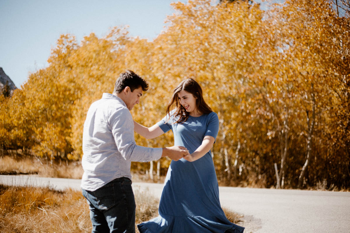 mammoth lakes engagement session dancing with the colors